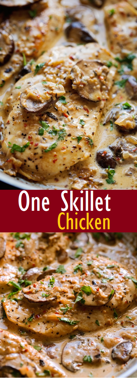 Easy Chicken Dinner skillet With Garlic Mushroom Cream Sauce