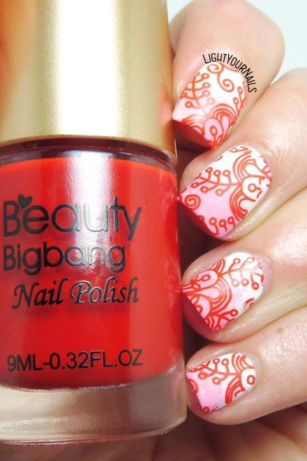 Red flowers stamping nail art feat. Beauty Bigbang red stamping polish #stamping #nailstamping #nailart #unghie #nails #lightyournails #beautybigbang