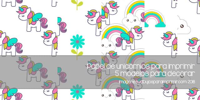 papel de unicornios para imprimir