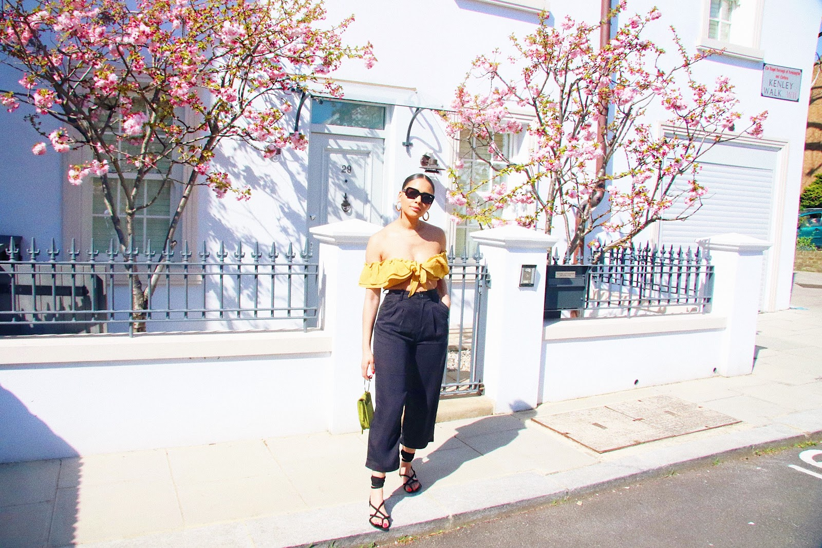 culottes, yellow crop top, black and yellow, Lola shoetique,
