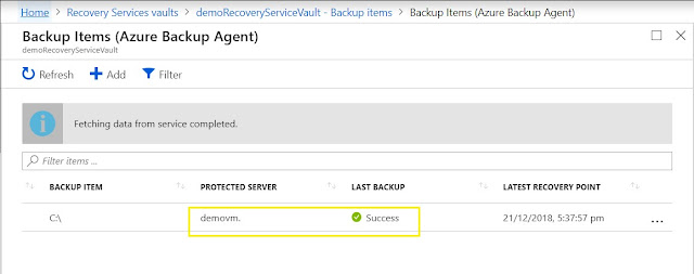 Backup Items - Success