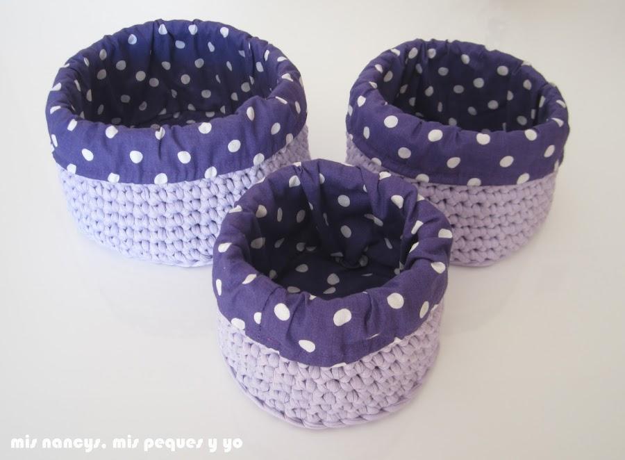 mis nancys, mis peques y yo, cestas redondas de trapillo con fundas de tela, tres cestas