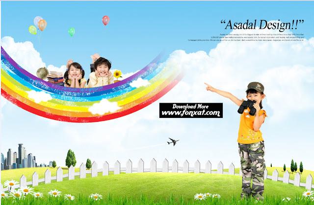 FREE PSD download : Children designs in the garden
