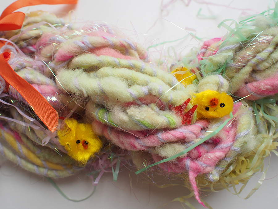 Crazy Easter handspun, photo by blogger Dayana Knits