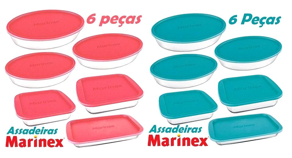 Assadeira de vidro com tampa Marinex