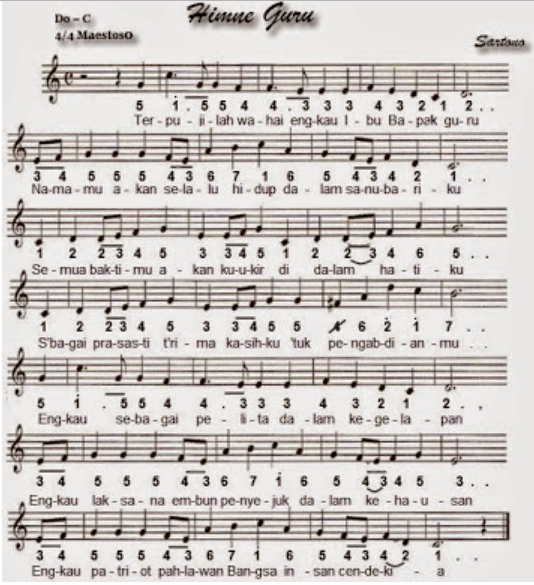 gambar lirik lagu hymne guru beserta notnya