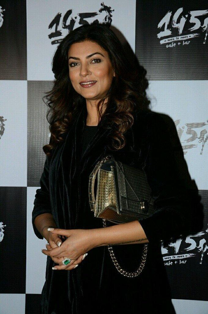 Bollywood Actress Sushmita Sen In Black Dress At Bar Launch