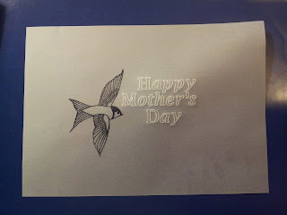 Parchment with Happy Mothers Day and stamped house martin