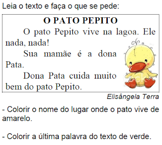 Texto O PATO PEPITO, de Elisângela Terra