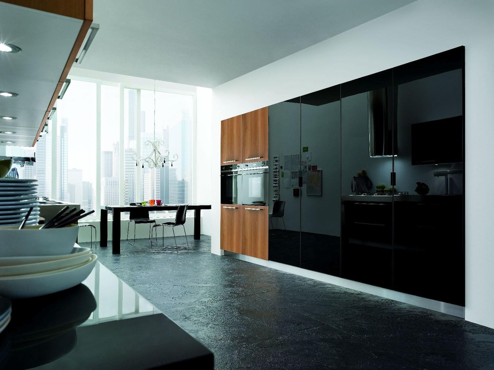cuisine en verre noir et bois. Black Bedroom Furniture Sets. Home Design Ideas