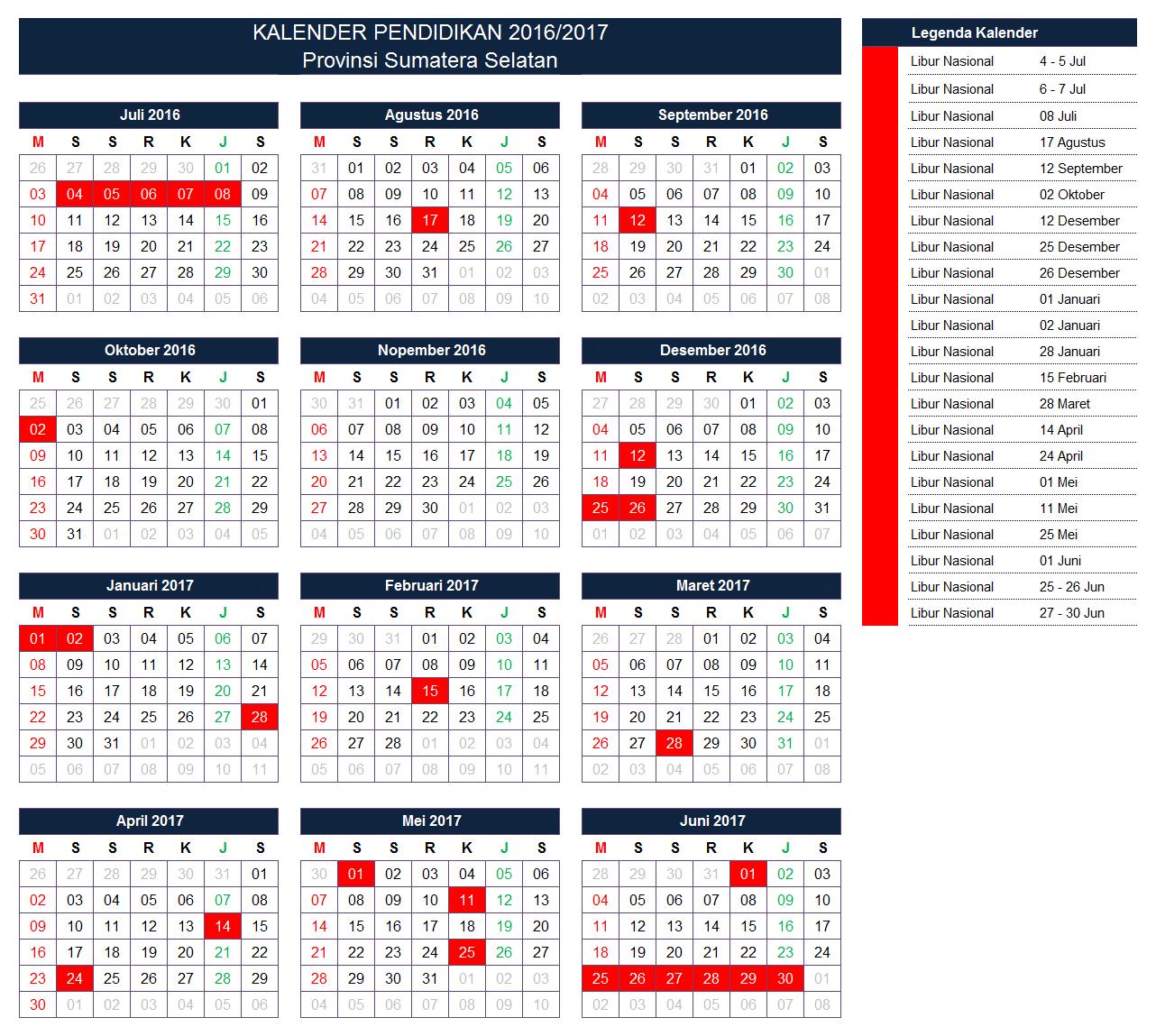 Kalender Pendidikan Provinsi Sumatera Selatan