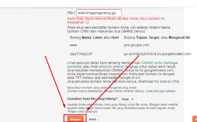 Cara memasang domain ke blogger (costum domain):