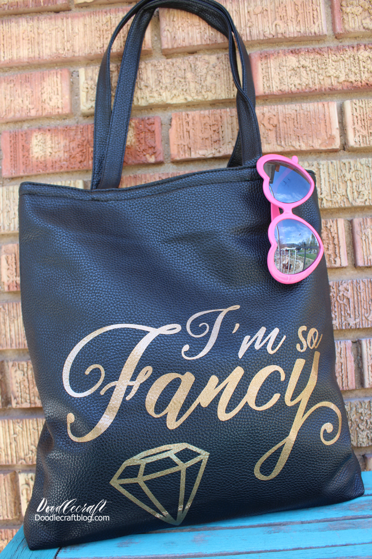 Doodlecraft I M So Fancy Vinyl On A Faux Leather Tote Bag