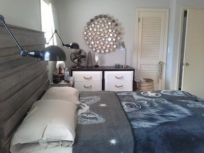 rustic headboad bedframe wall lamp mid century dresser
