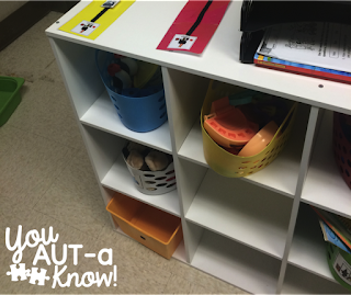 Adding reinforcers in bins outside of our independent work station has motivated students to finish their work.