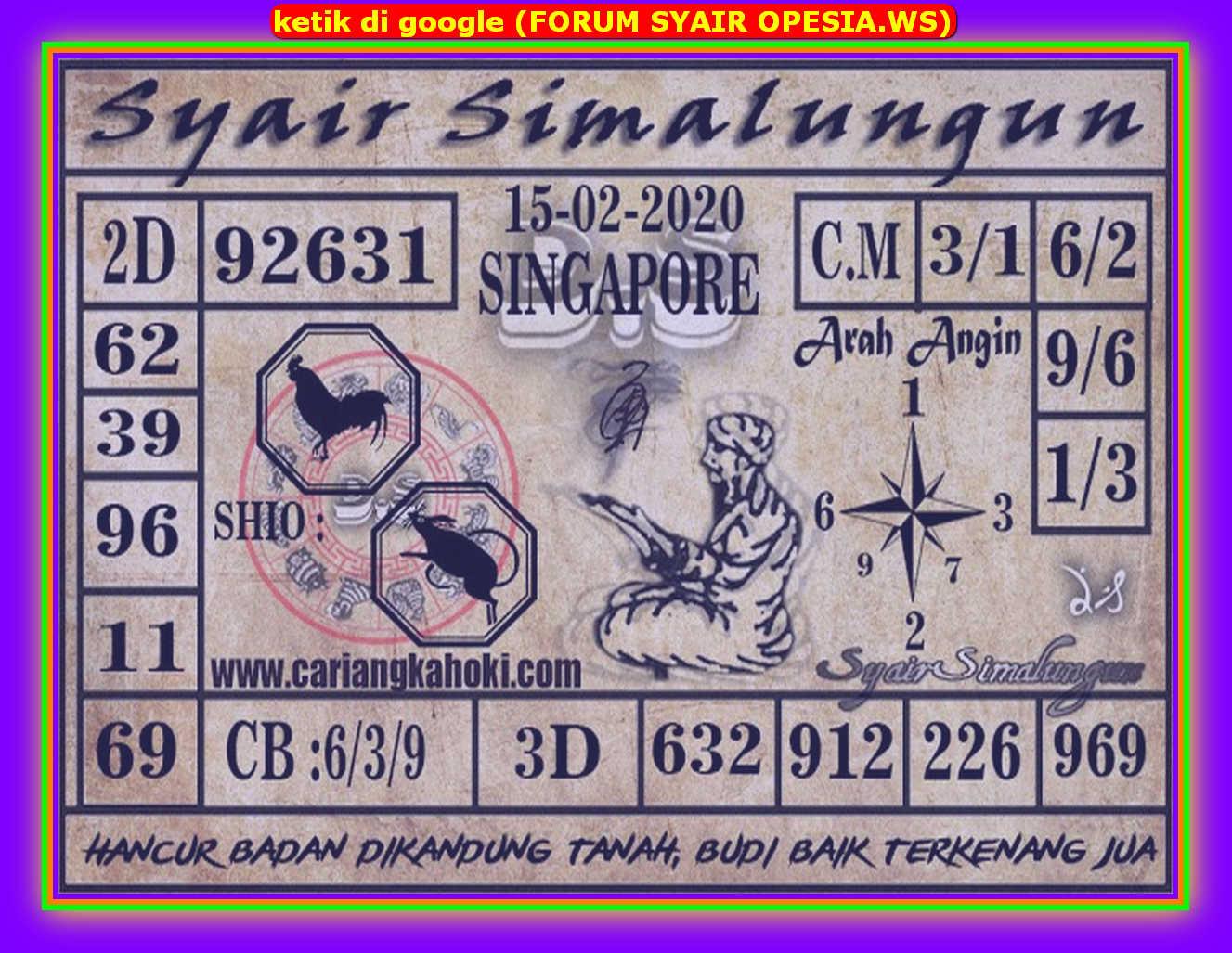 Kode syair Singapore Sabtu 15 Februari 2020 162