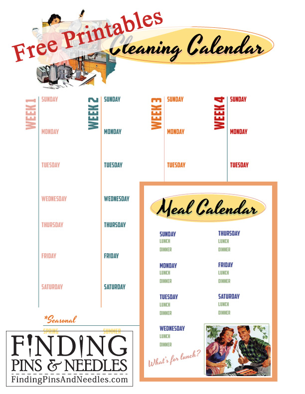 Finding Pins and Needles *FREE* Printable Cleaning \ Meal Calendars - meal calendar