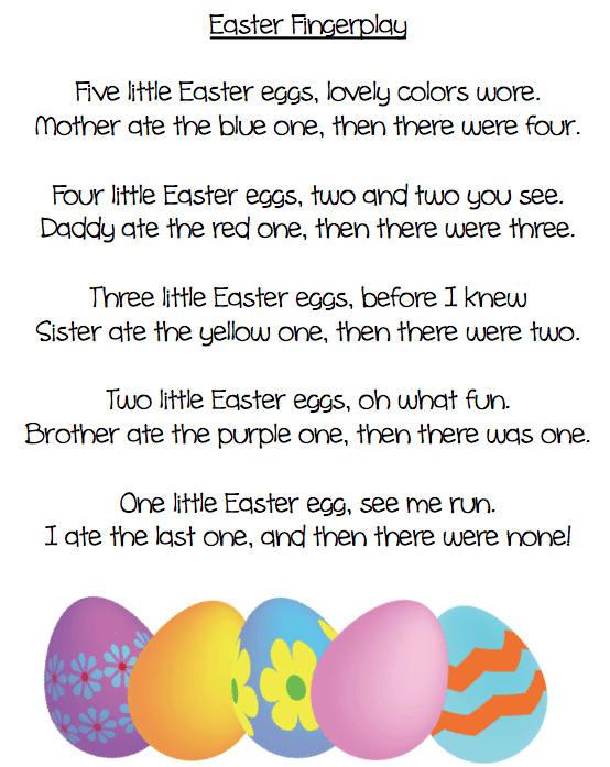 An Easter fingerplay poem and five beautiful eggs. Grade ONEderful.com