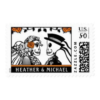 Skeletons ORange Roses Custom Names Medium Postage Stamp Wedding