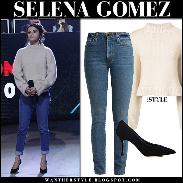 Selena Gomez in beige knit sweater and skinny jeans khaite at One Voice telethon celebrity fashion