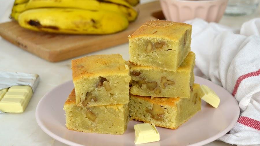 Brownie de chocolate blanco y plátano
