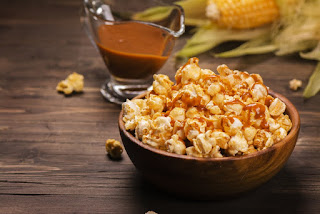 Salted caramel and chocolate hazelnut popcorn