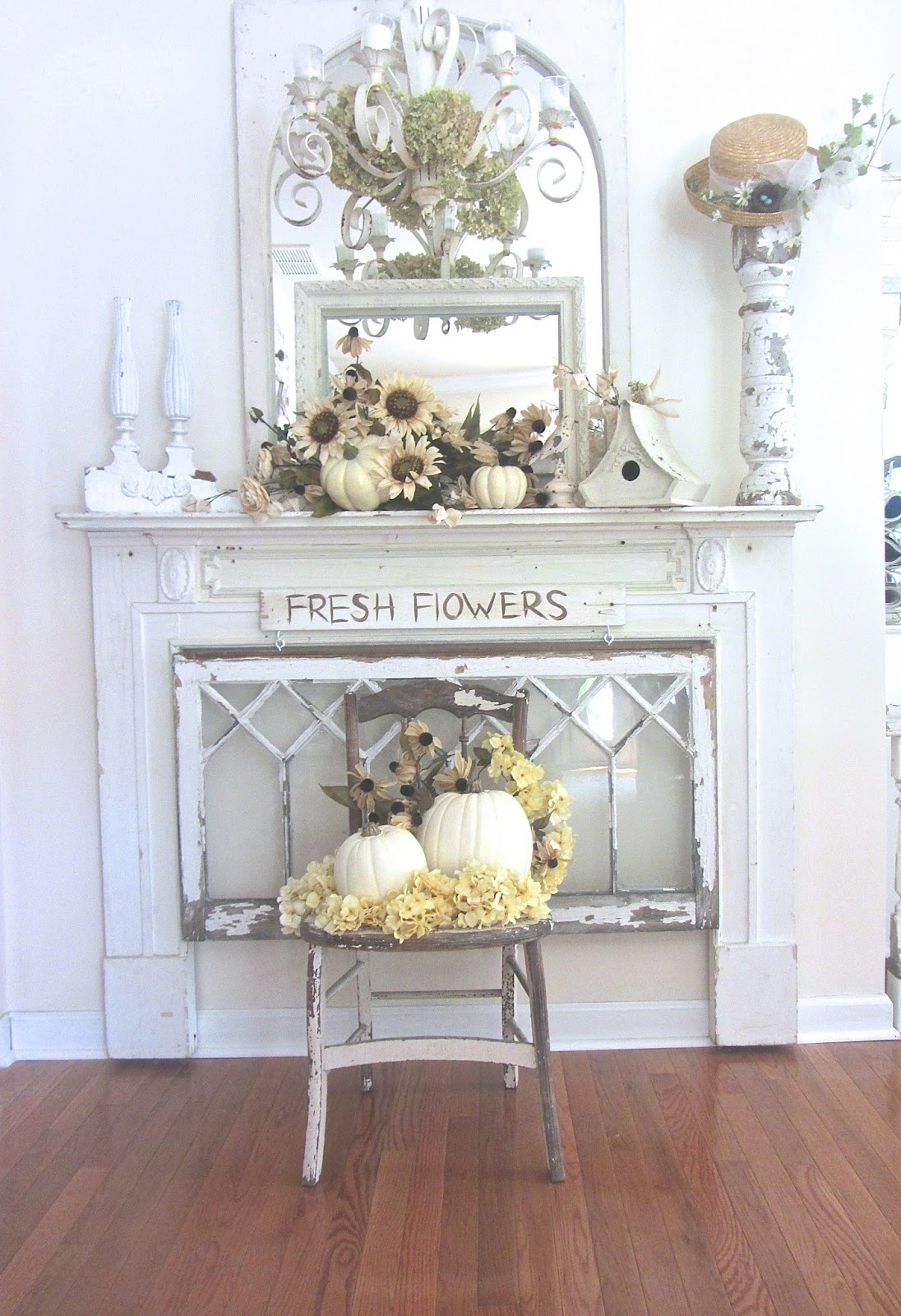 junk chic cottage white neutral fall decor. Black Bedroom Furniture Sets. Home Design Ideas