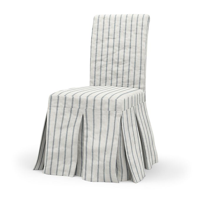 image result for Ikea dining chair with Bemz linen stipe slipcover