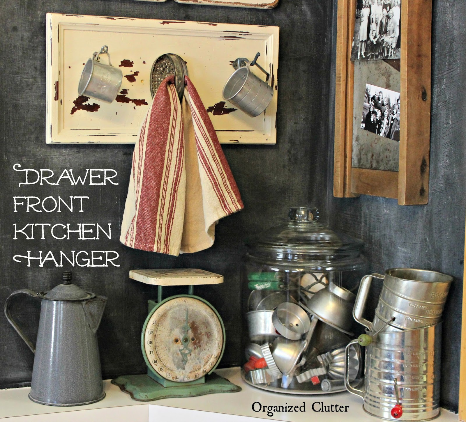 Repurposed Drawer Front Farmhouse Kitchen Hooks www.organizedclutter.net