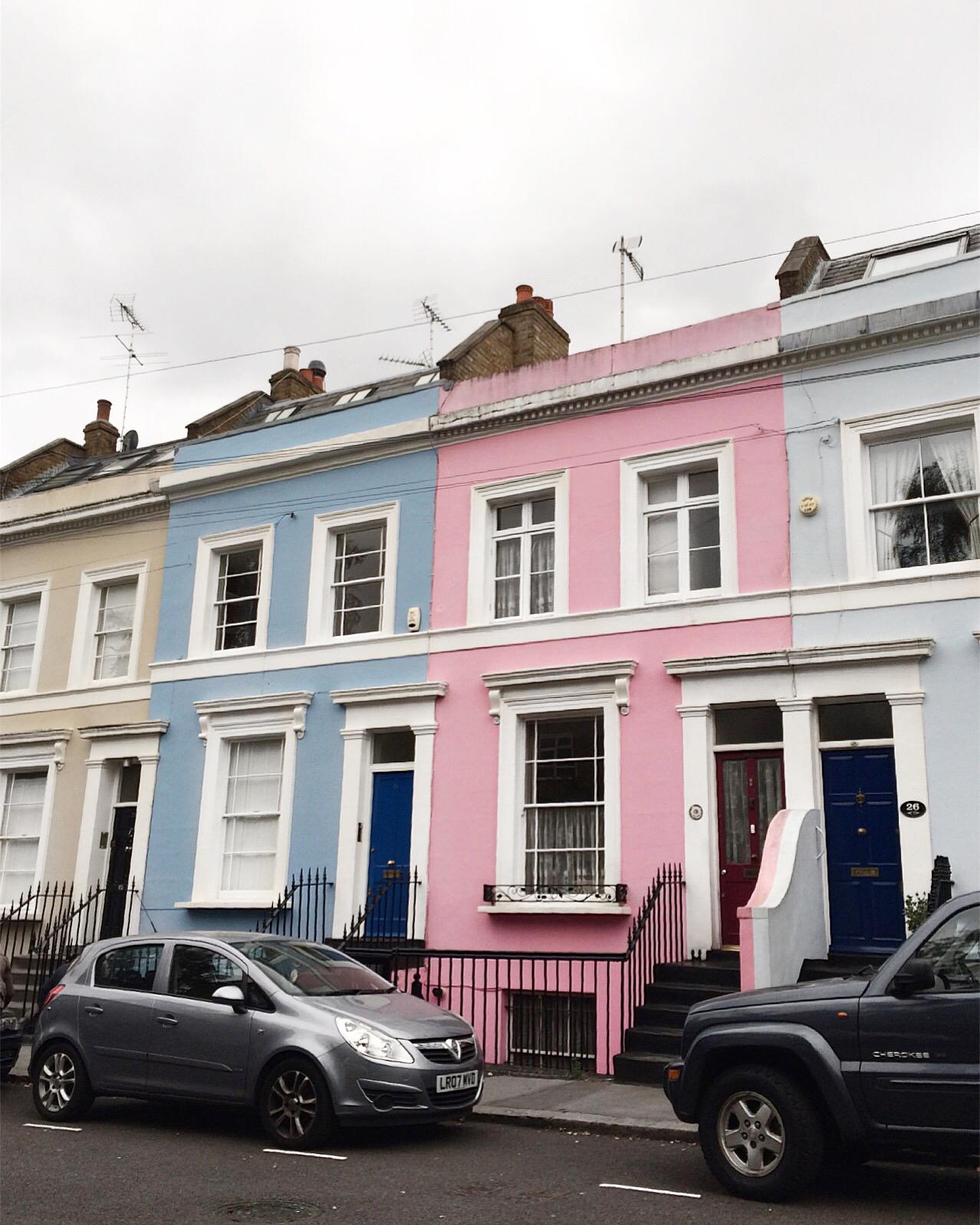 kolorowe domki, notting hill, londyn dzielnice, notthing hill londyn, domy notting hill