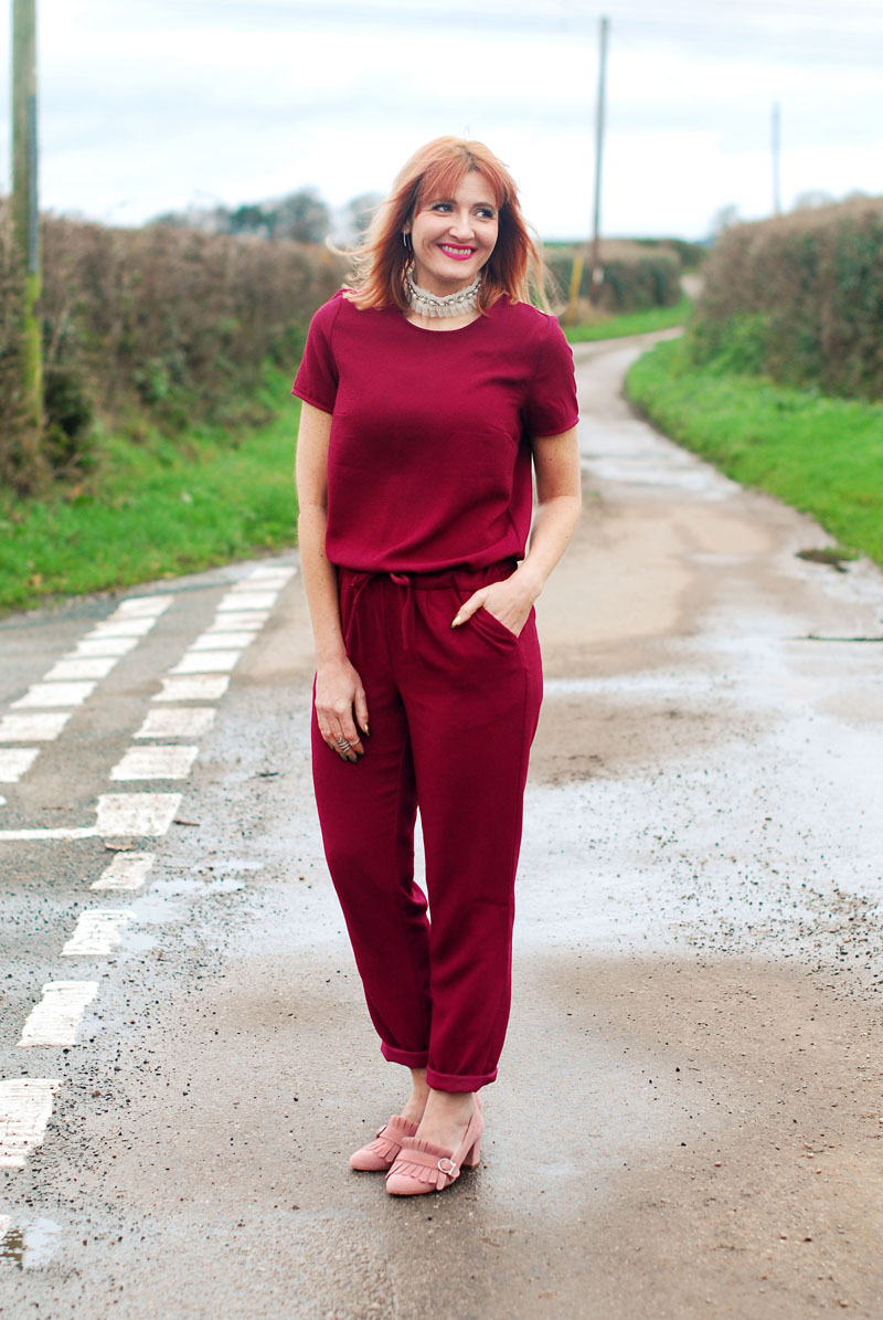 A Christmas Day Jumpsuit and Frilled Choker