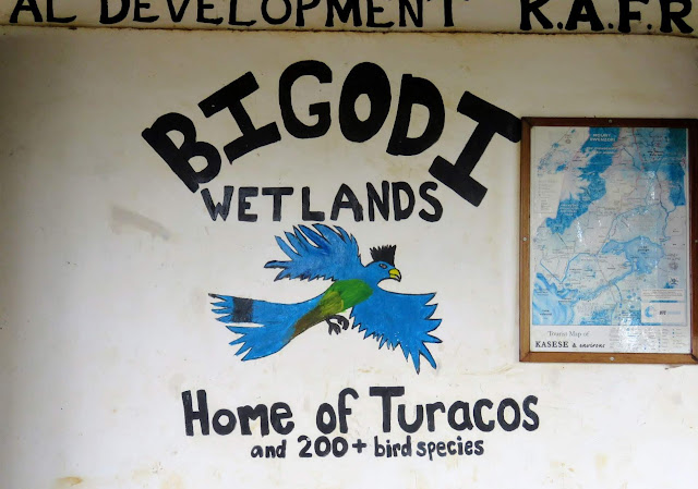Bigodi Wetlands sign in Uganda