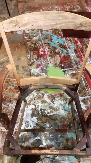 antique chair frame upcycled