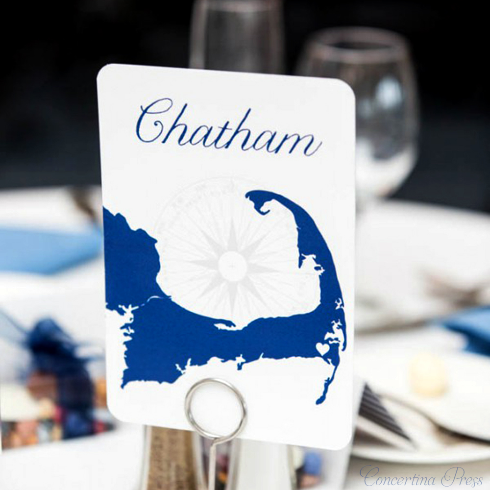 Cape Cod Town Table Numbers for your Wedding or Rehearsal Dinner  - Chatham from Concertina Press