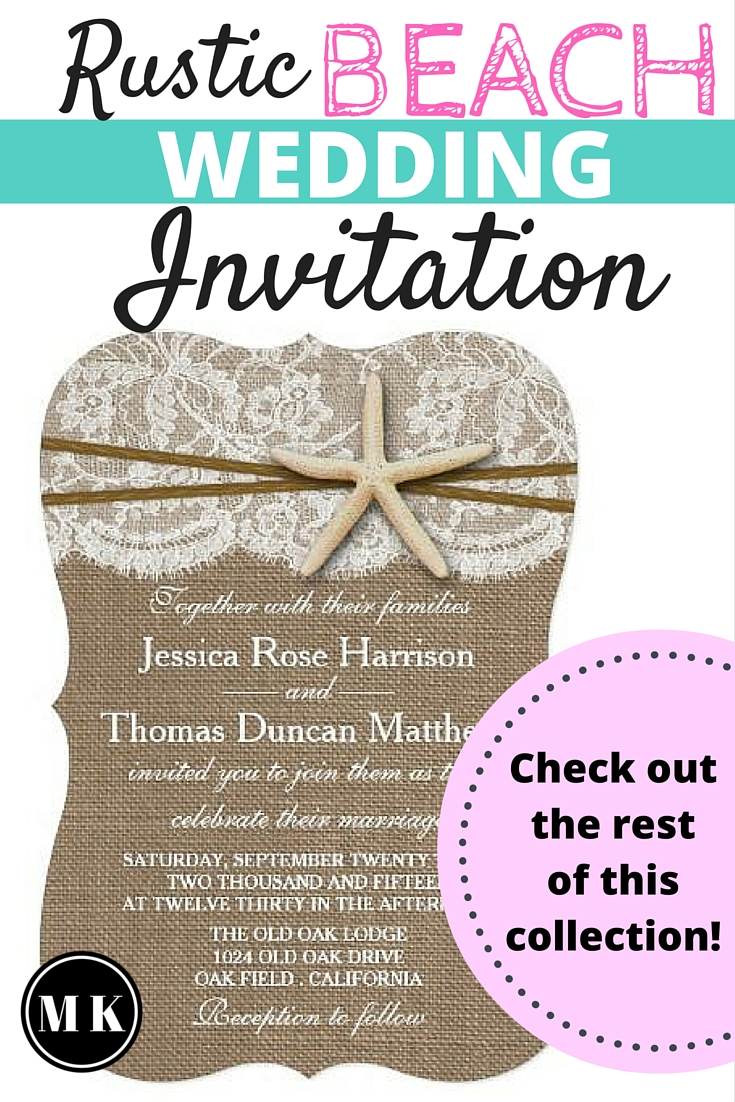 Rustic Beach with Starfish Wedding Invitation Collection - The more I look at it, the more I adore this simple and romantic design! I love how the lace on burlap looks like a wave receding on the sand. These invites would be perfect for a summer, beach or destination wedding. You have to check out the rest of the coordinating set including save the date cards, RSVP cards and even personalized postage!