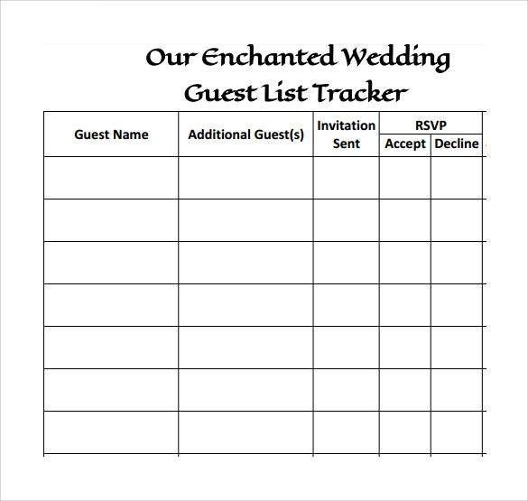 simple wedding guest list templates excel template. Black Bedroom Furniture Sets. Home Design Ideas