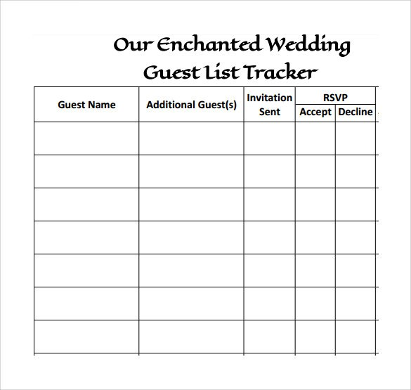 It's just a graphic of Wedding Guest List Printable with regard to template