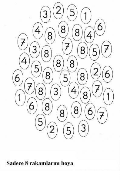 Yazdırılabilir Boyama Sayfası Okul öncesi 8 Rakamı Boyama