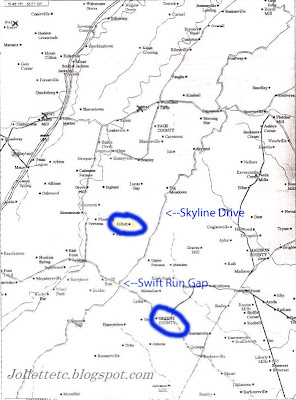 Map showing travel route from Greene County to Naked Creek in Page County, VA