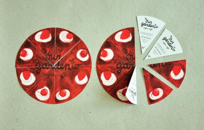 بطاقات عمل مطعم على شكل قطع بيتزا