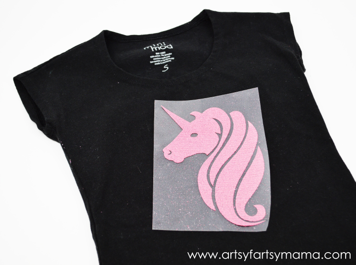 DIY Glitter Unicorn Shirt Tutorial at artsyfartsymama.com #vinyl #unicorn #kidfashion #ExploreCricut