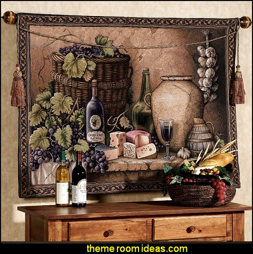 Wine Tasting Wall Tapestry  Tuscan theme decor - grape decor - wine barrel decor - Tuscan theme decorating ideas - rustic decorating ideas old world furniture - Tuscan decor - Tuscan themed bedroom decor - Tuscany vineyard style decorating - rustic decor - Italian cafe - Tuscan themed kitchen accessories - Tuscan wall murals - Tuscan bedroom ideas - Venice Italy decorating ideas - Tuscany kitchen decor - wine kitchen decor - Tuscan style decorating - Italian-inspired Living - Tuscan vineyard style decorating