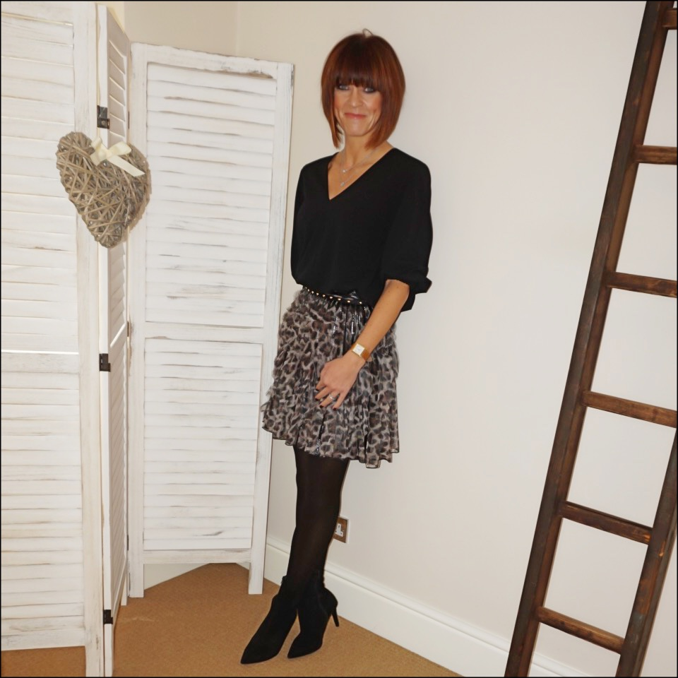 my midlife fashion, tibi v neck loose fit blouse, roberto cavalli leopard print ruffle mini skirt, marks and spencer stiletto heel velvet ankle boots