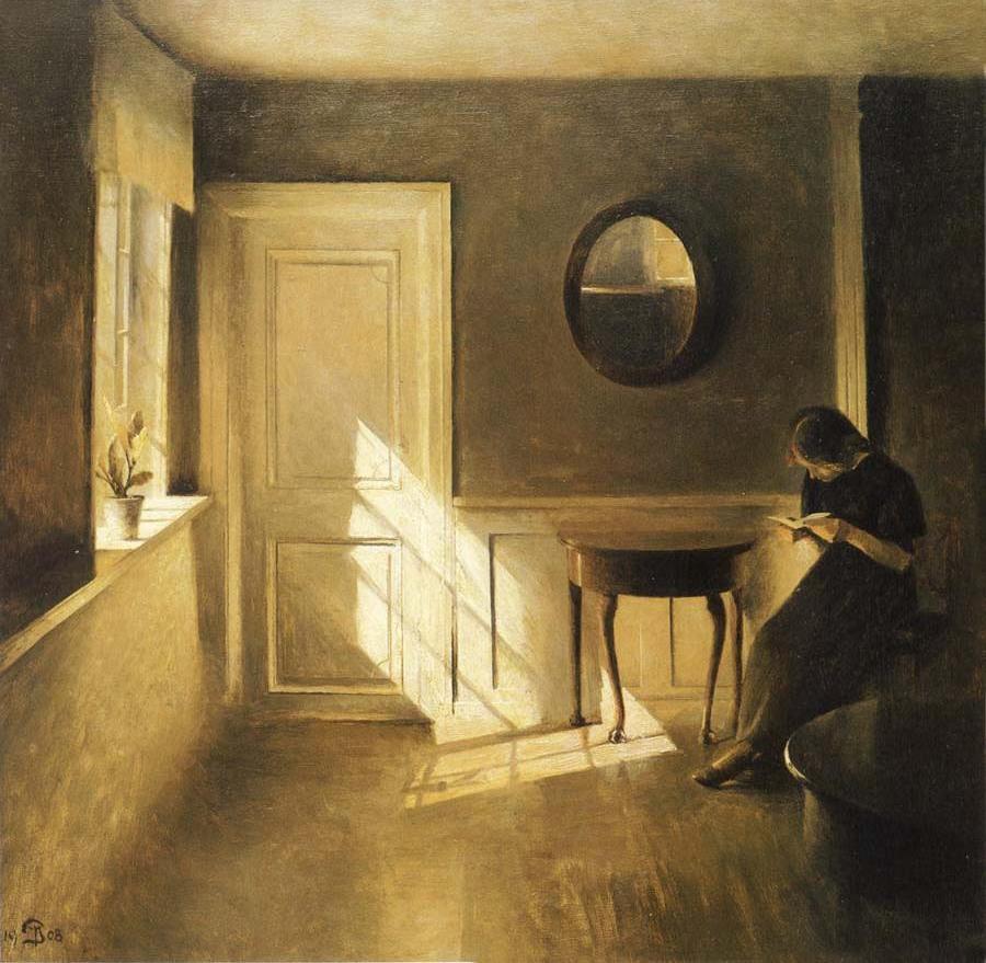 peter ilsted 1861 1933 intrieur avec une jeune fille en train de lire 1908