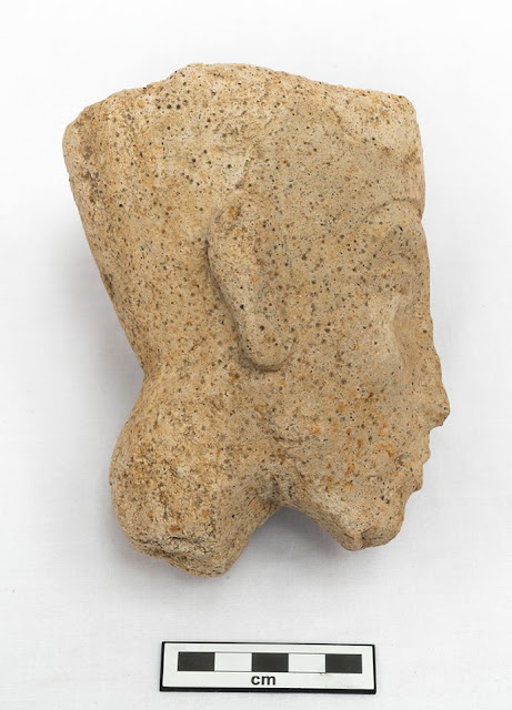 Gypsum head of Akhenaten statue unearthed in Egypt's Minya