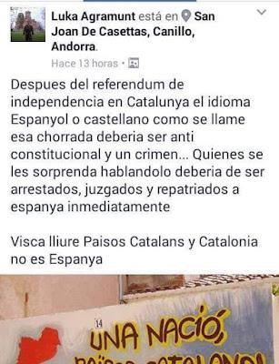 Luka Agramunt , después del referéndum de independencia en Cataluña el idioma español o castellano como se llame esa chorrada debería ser anti constitucional y un crimen , Quienes se les sorprenda hablándolo deberían de ser arrestados, juzgados y repatriados a España inmediatamente.