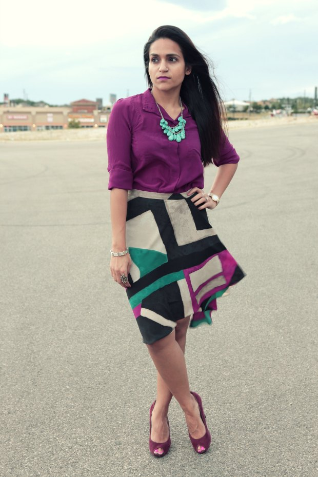 Fall Colors, DKNY Skirt, Nine West Shoes, via TJ Maxx, Tanvii.com