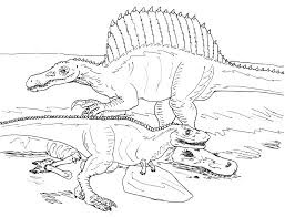 Spinosaurus Battle With T-Rex Coloring Pages