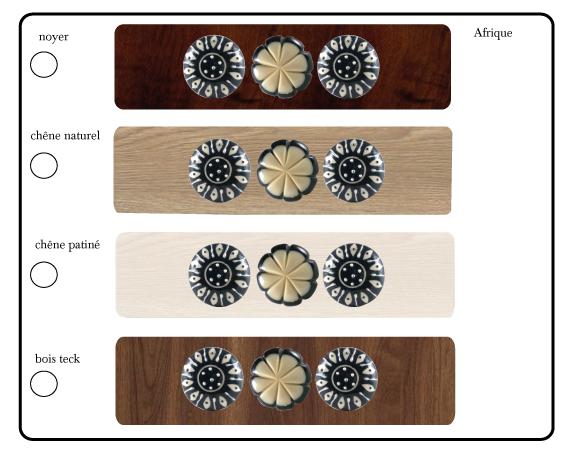 boutons de meubles noir et blanc