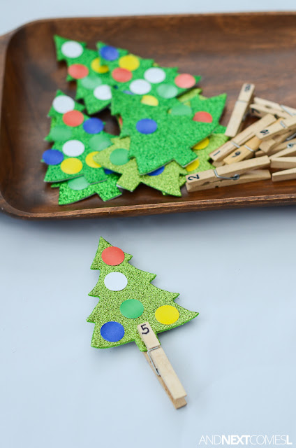 Simple Christmas themed counting activity for kids from And Next Comes L